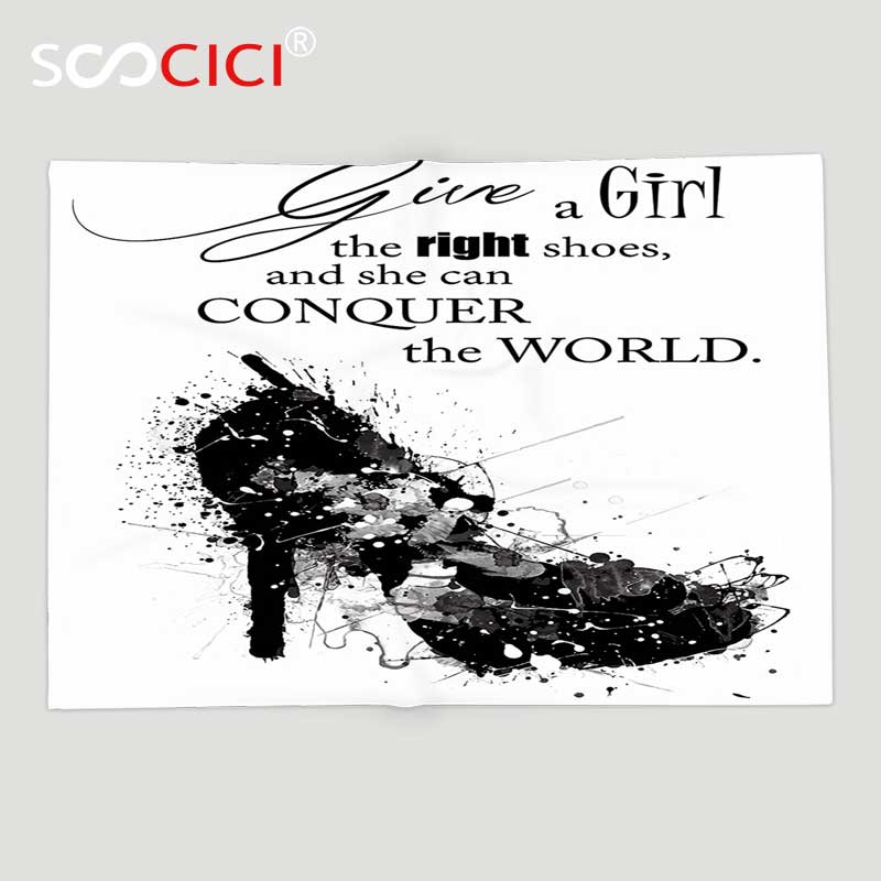 US $47.83 48% OFF|Custom Soft Fleece Throw Blanket Quotes Decor Collection  Give A Girl the Right Shoes and She Can Conquer the World Woman Fashion-in  ...