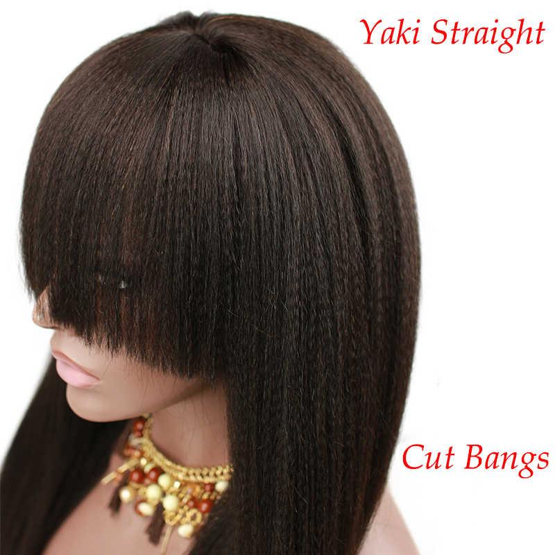Итальянские Yaki прямые 150 густые натуральные волосы полные кружевные парики Детские волосы предварительно сорванные Remy человеческие волосы парики челка для женщин Eseewigs