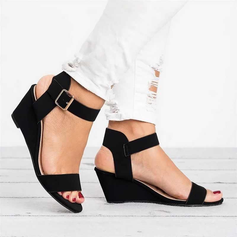 HEFLASHOR rose noir 2019 sandales à talons compensés été bureau talons hauts chaussures femme boucle sangle pompes décontracté femmes chaussures grande taille
