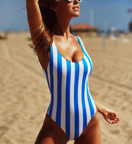 Summer Sexy One-Piece Suits Ladies Women Ladies Swimwear Swimsuit Monokini Push Up Striped Bikini Bathing цена 2017