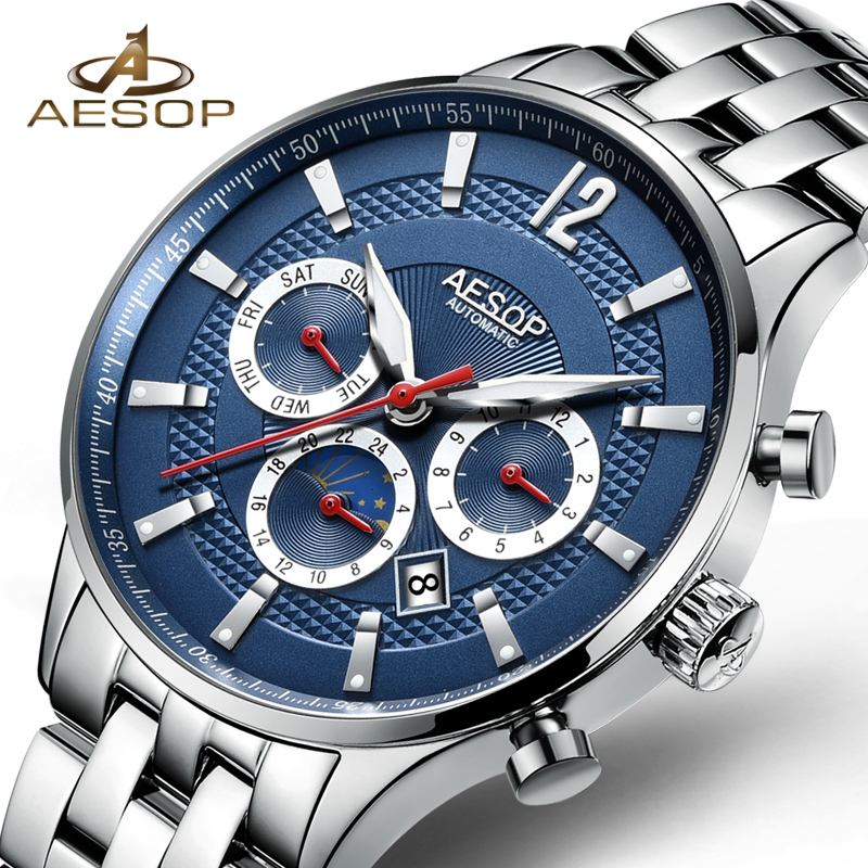 AESOP Fashion Business Men Watch Men Brand Automatic Mechanical Wrist Stainless Steel Wristwatch Male Clock Relogio Masculino 46 fashion top brand watch men automatic mechanical wristwatch stainless steel waterproof luminous male clock relogio masculino 46