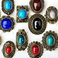 Wholesale 5pcs Mix Lots Ring Set Retro Vintage Design Geometric Natural Stone Turquoise Ring For Women Jewelry