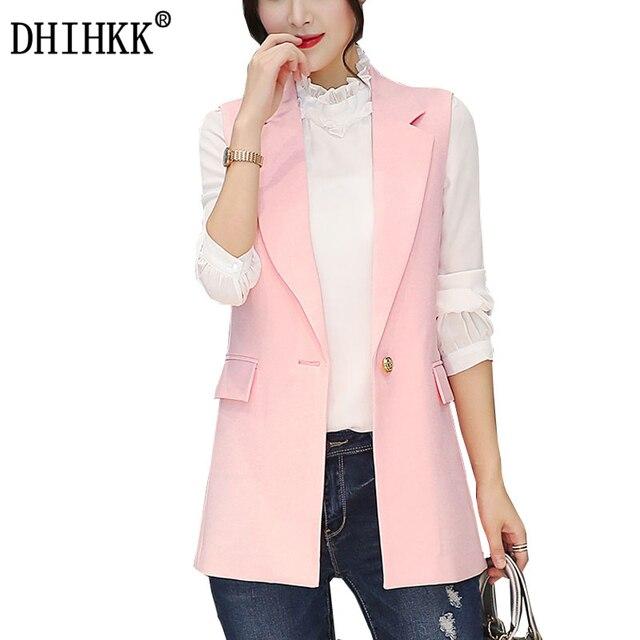 ec2f271b68c27 DHIHKK New fashion Women vest coat autumn winter waistcoat office lady sleeveless  jacket outwear pink colete feminino 308RX