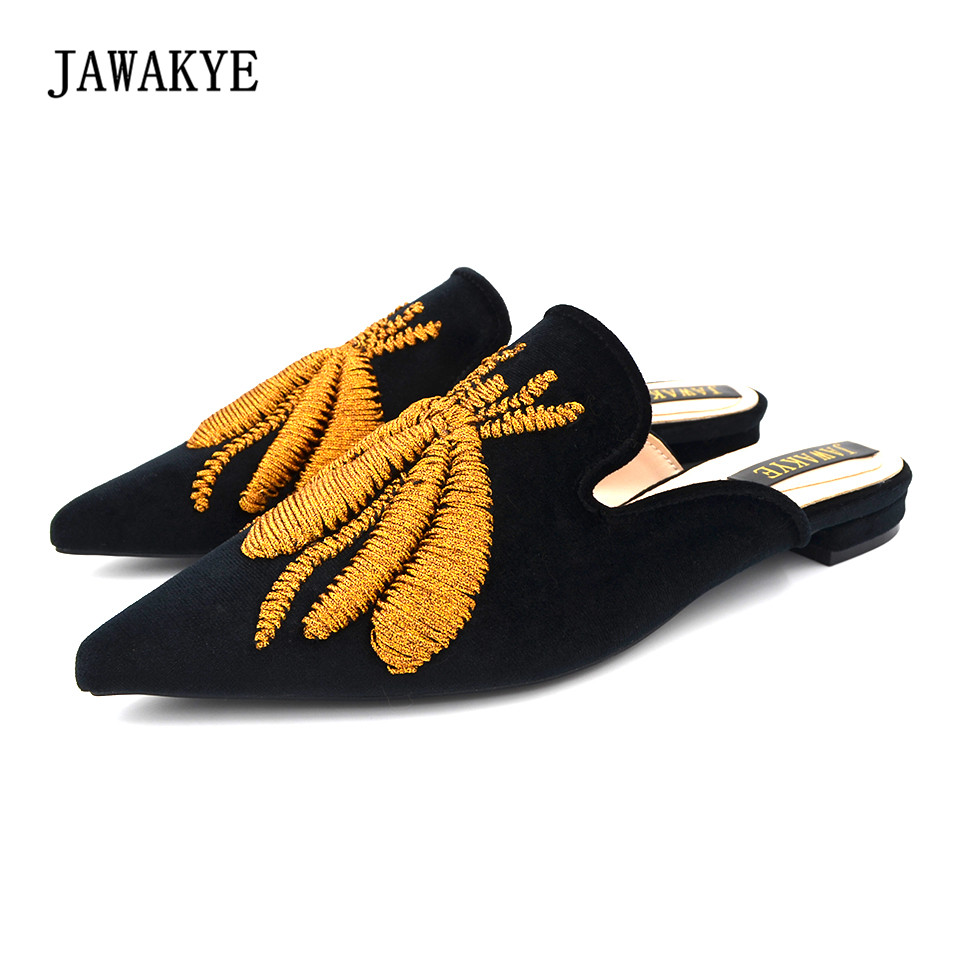 JAWAKYE Spring Pointed Toe Embroidery Spider Mules Flat Slippers Women Velvet fashion outdoor low heel Slip on loafer Shoes insect embroidery flat mules