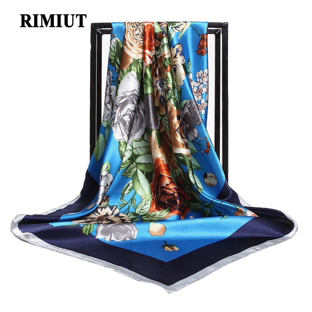 RIMIUT 2017 New Arrival Pure Silk Square 90*90 cm Flower Printing Women Scarf Autumn Winter Lady Vintage Luxury Brand Scarves