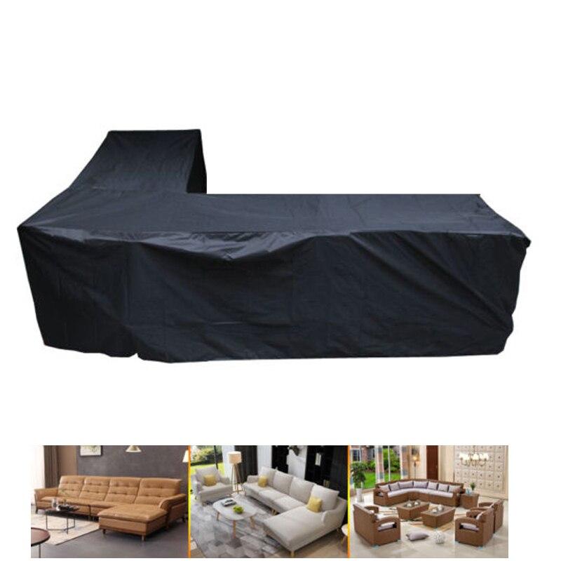 210D imperméable à l'eau L forme grande taille XL intérieur extérieur housse de canapé 3 M x 3 M rotin Patio meubles de jardin housse de protection anti-poussière