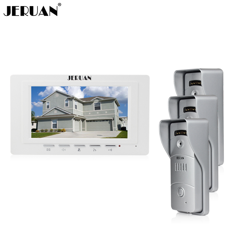 JERUAN Home wired 7`` color screen video door phone intercom system 1 monitor + waterproof metal pinhole Cameras Free Shipping jeatone video phone home intercom audio doorbell 3 7mm pinhole cameras with 4 indoor monitor screen wired office intercom