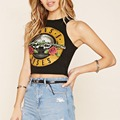 GUN N ROSE printed cropped tops for womens sleeveless short cotton tops ladies summer fashion skinny tops plus size sexy shirts