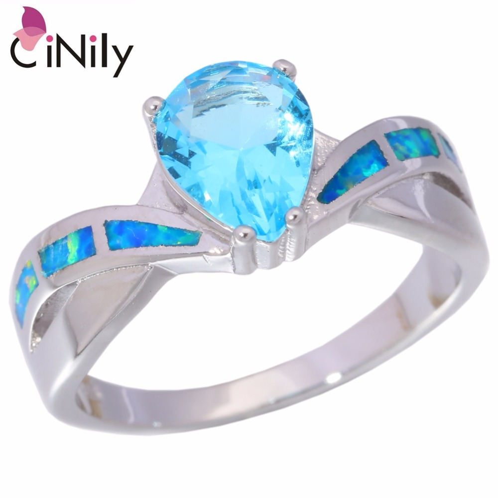 Cinily Blue Zircon Jewelry Ring-Size Fire-Opal Silver-Plated Fashion Women for Gift 5-11