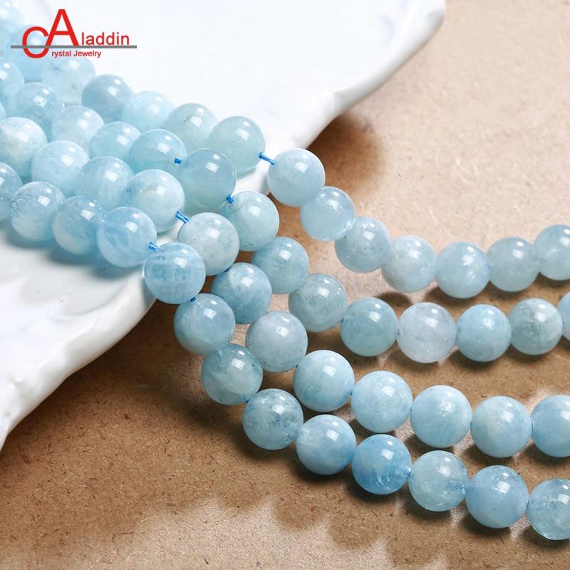 Aladdin 6/8/10/12/14MM Aquamarin Quartz beads DIY Bracelet Accessories Sea Blue Crystal Necklaces Men&Women Valentines day gift
