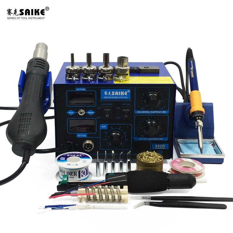 Solder In Gun Iron 952D Hot Air Soldering Rework Desoldering SMD SAIKE 1 220V 110V 2 Station