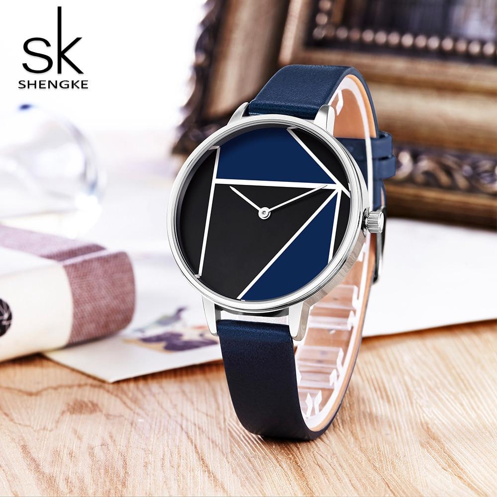 SK Leather Watchband Strap Women's Dress Business Watch Elegant Quartz Wristwatch Clock 5