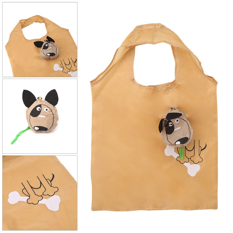 THINKTHENDO Cartoon Dog Foldable Folding Shopping Recycle Carrier Tote Reusable Eco Bag