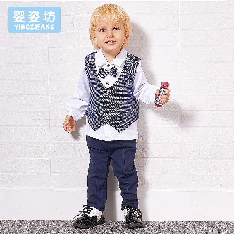 2017 Sale Rushed Formal Cotton Full O-neck Regular Baby Boys Spring Clothing Set Plaid Bow Tie Jacket Sets + Pant 2-pieces Suit