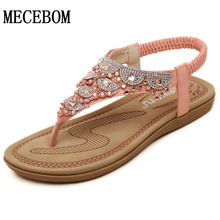2016 summer woman contracted flat thong sandals female Bohemia Rhinestone with antiskid beach shoes