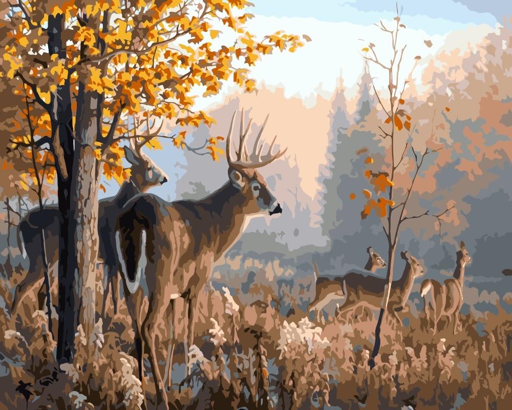 mahuafi deer landscape oil painting by nmeros colorante by nmeros pintados a mano sobre lienzo arte de la pared para la de