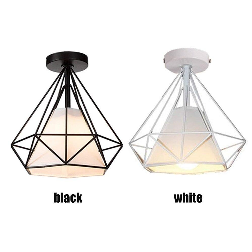 E27 Iron Pendant Light Scandinavian modern cage pendant lamp iron minimalist retro Scandinavian loft pyramid metal Hanging Lamp