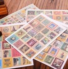 30 팩/많은 빈티지 우표 스티커 생활 접는 스타일 일기 스티커 DIY 다기능 스티커 홈 인테리어 라벨 도매