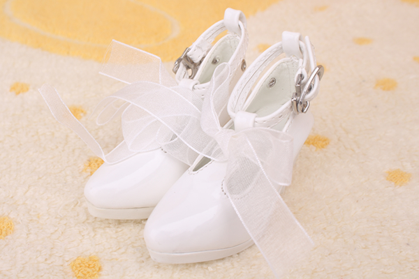 1/3 bjd shoes doll shoes black white pink red sexy silk ribbon high heel shoes japanned leather ribbon buckle women's shoes