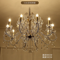 Crystal Chandelier Living Room Lamp Retro Country Candle Luxury Dining Room Lamp European Style Rural Bedroom