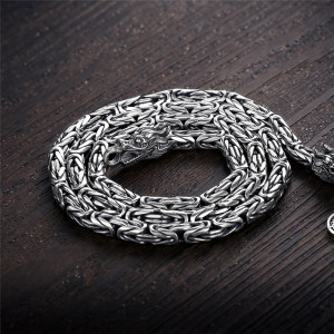 Image 5 - V.YA Punk Style Real Silver Dragon Necklace Men Chain 925 Sterling Silver Necklaces for Male Mens 50cm 55cm 60cm