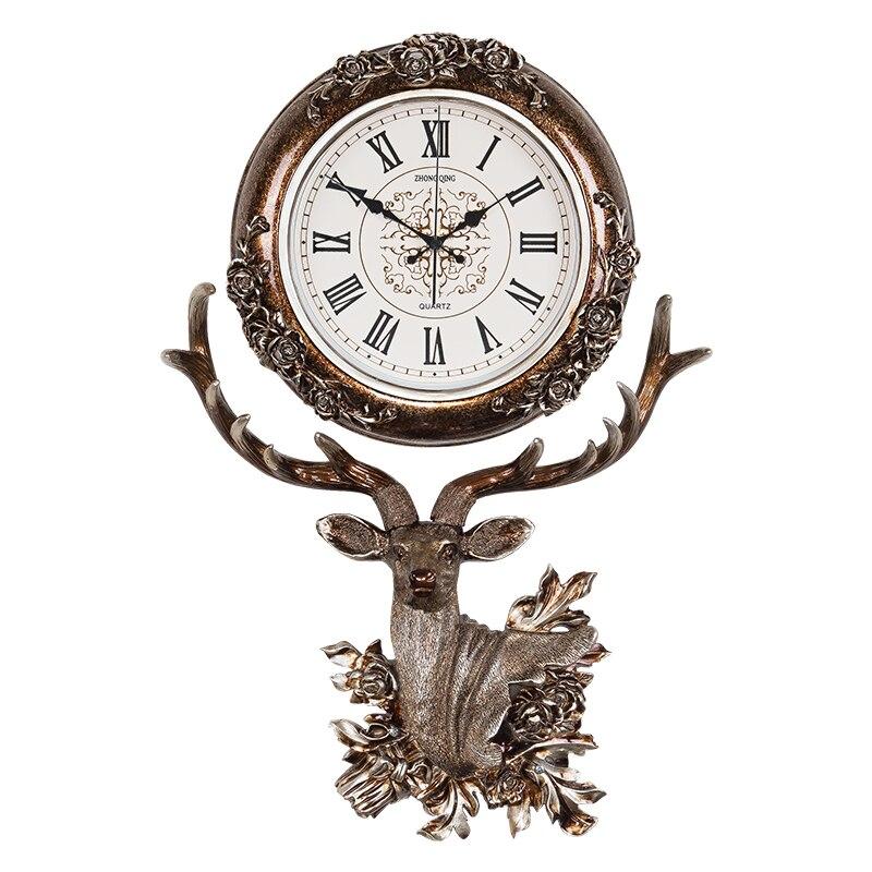 Reloj de estilo europeo para sala de estar, campana colgante, cabeza de ciervo, reloj de cuarzo de moda creativo, reloj decorativo de arte atmosférico Nórdico - 5
