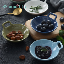 Ceramic Household Single Ear Sauce Dish Mini Snack Family Kitchen Supplies