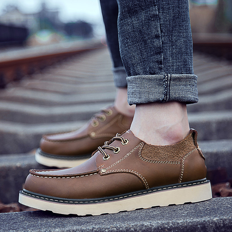 2018 NEW Hot Sale Casual Shoes Men Spring Autumn Waterproof Solid Lace-up Man Fashion Flat With Pu Leather Shoes 5 bexzxed new brand fashion comfortable men shoes lace up solid leather shoes men causal huarache shoes hot sale