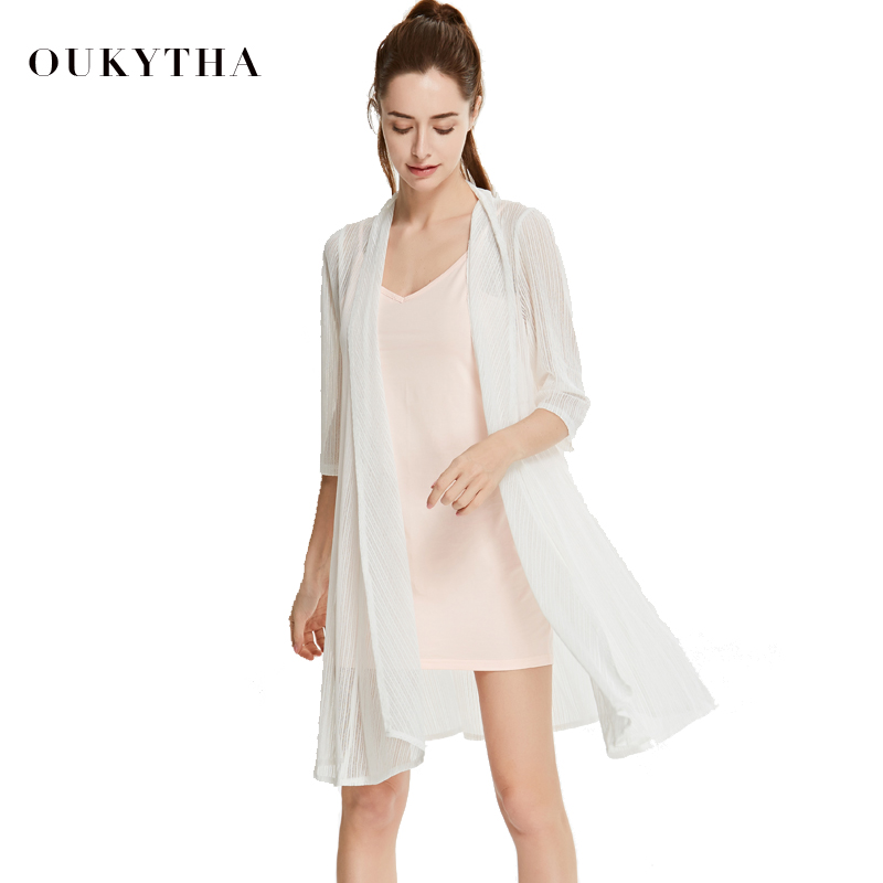 Oukytha 2018 Summer New Elegant Chiffon Cardigan Thin Sunblock Long Cardigan Half Sleeves Transparent Casual All-match Thin Coat