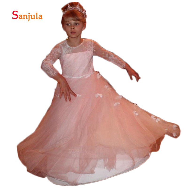 Pink Tulle   Flower     Girl     Dress   with Butterflies Full Sleeves Jewel Neck Lace Holy First Communion Gowns Robe De Fiesta D913