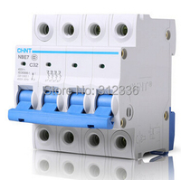 Free Shipping Two years Warranty C32 4P 32A 4 pole House use C type small air switch unipolar Electric shock protection