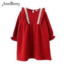 2019 autumn winter children party clothes flounced girls dress lace Bohemia girl dresses for 4~14 age red teenager