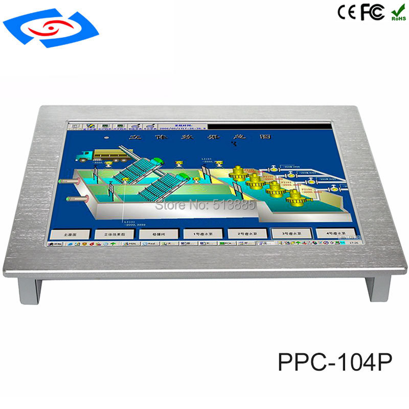 Low Cost 10.4 Inch Touch Screen Industrial Tablet PC With IP65 Fanless Design With XP Win OS Linux System Support Customization