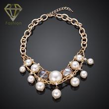 Christmas Gift Vintage Gold Color Metal Choker Necklace Tassels Simulated Pearl Chain Beads Necklace for Women Party