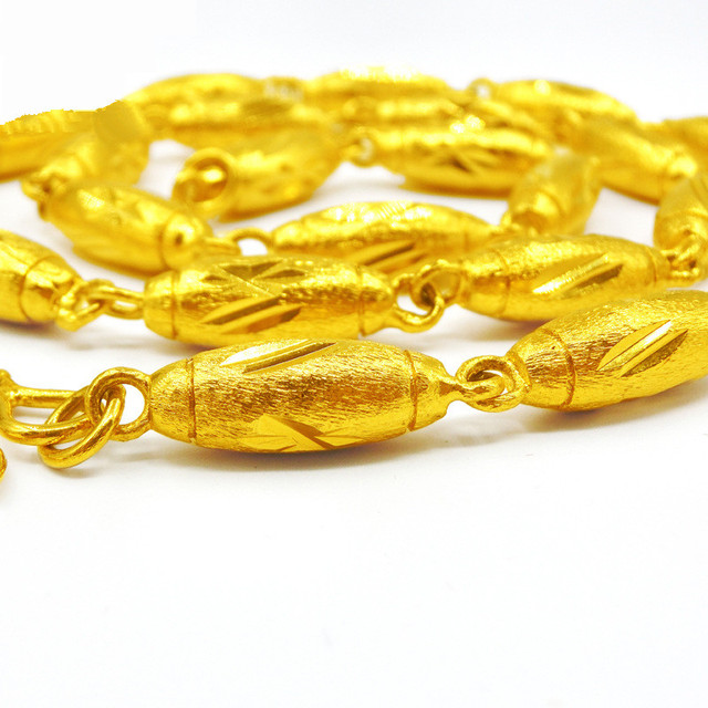129g Heavy Solid Oval Chain  Yellow Gold Filled GF Big Olives Necklace Chain Link 62cm Length
