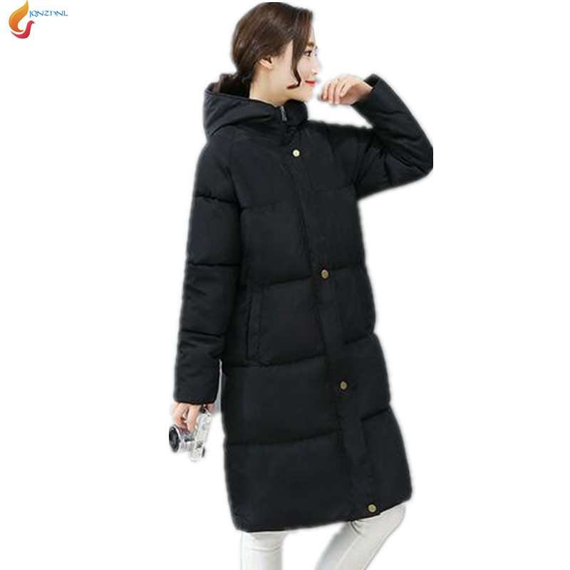 Winter Cotton clothing jacket 2017 autumn women fashion hooded thicken warm jacket medium long cotton clothing coat G215 JQNZHNL