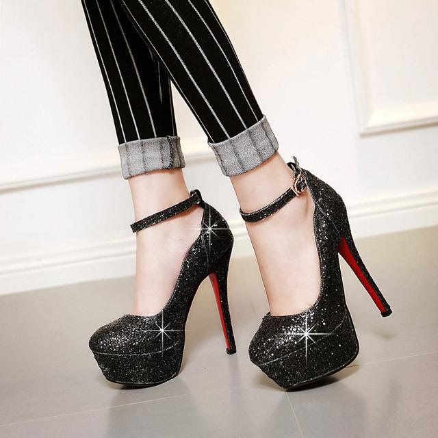 Mulheres sapatos de salto alto qualidade das senhoras da moda dedo do pé redondo pltaform glitter sapatos mulher sexy de salto alto bombas grande tamanho 34 - 43