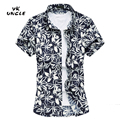 2016 Summer Mens Casual Shirts Short Sleeve Flowers Print Fashion Cotton Chemise Blouse Male Beach Shirts Plus Size 6XL,YK UNCLE