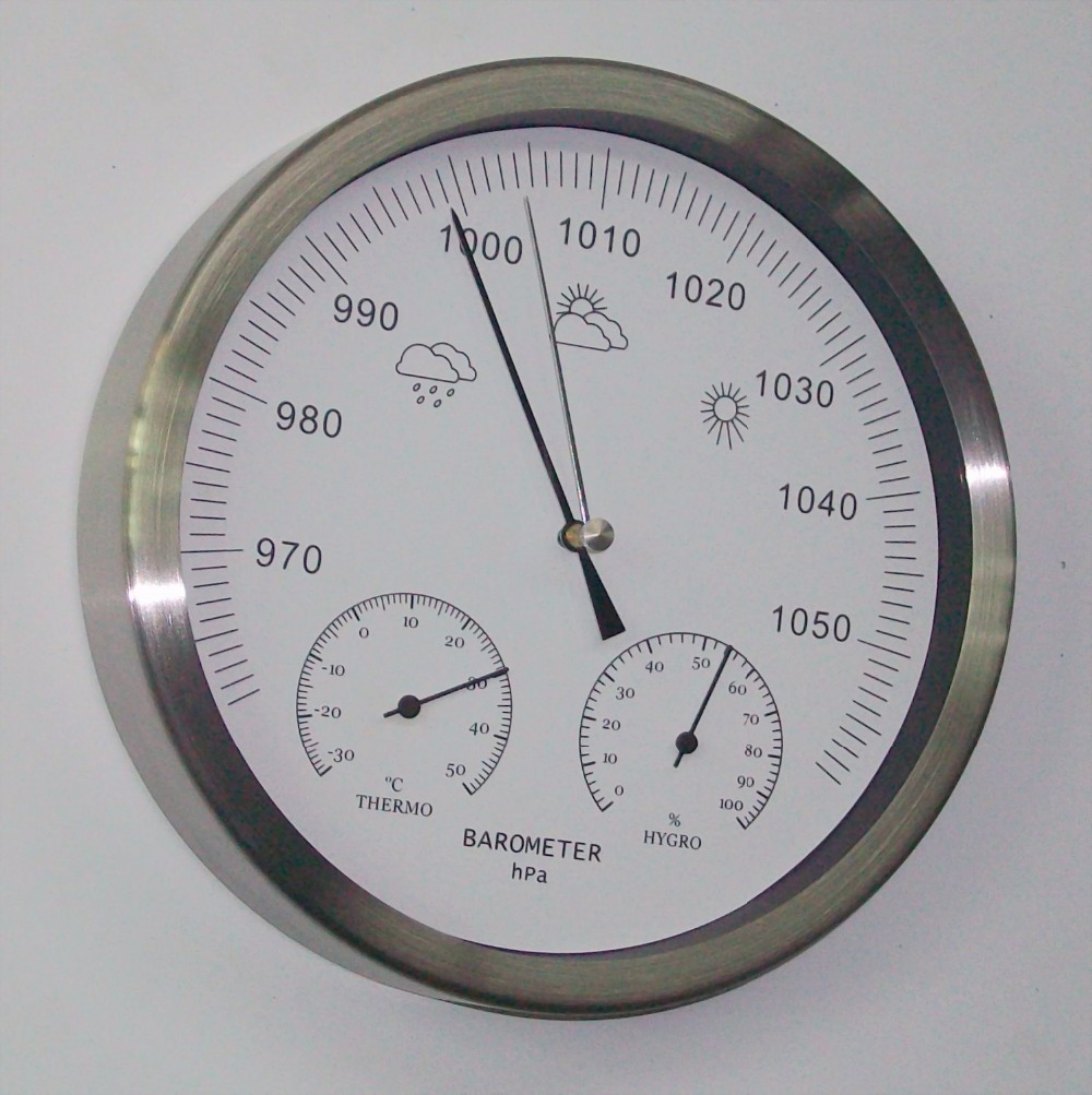 20cm Stainless steel case 3 in 1 Thermometer Hygrometer Barometer Weather Station european style dark gray 22 5cm 3 in 1 thermometer hygrometer barometer weather station