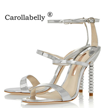 2019 New Women  High Heels Luxury Gold Silver Sandals Rhinestone Shoes Woman Summer Sandals Elegant Party Wedding Shoes