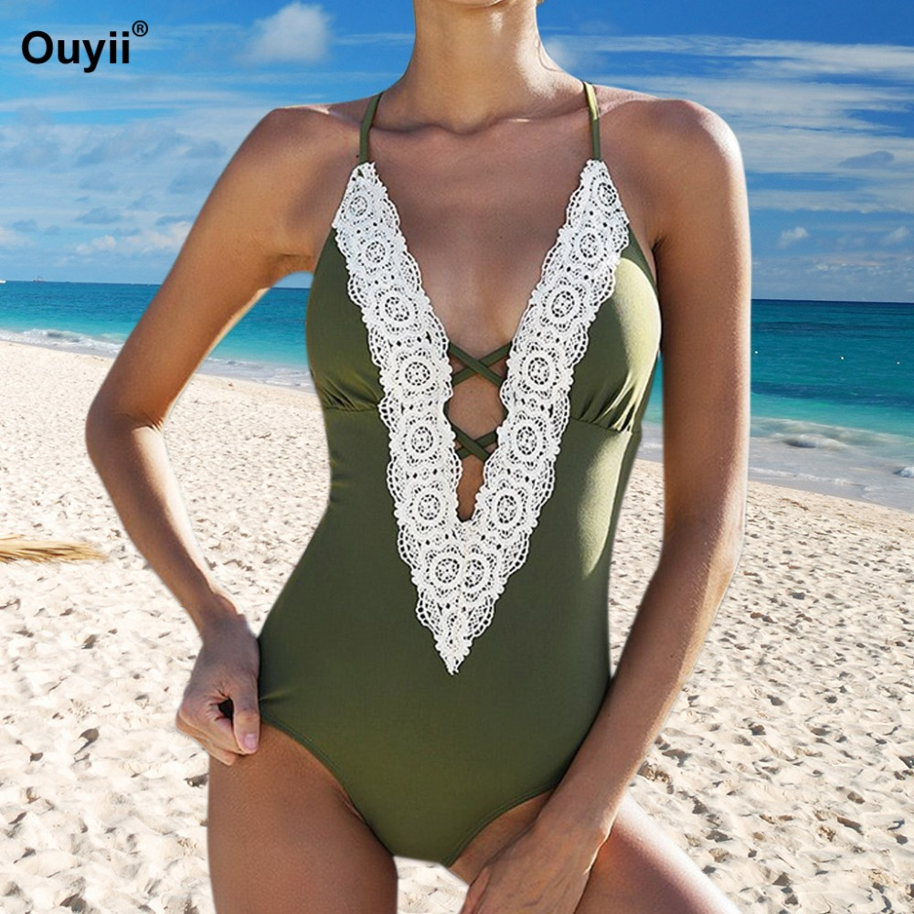 2018 Sexy Swimwear Lace Bathing Suit Crochet Monokini Halter Bodysuit Bandage Beachwear One Piece Swimsuit Woman Maillot De Bain ruuhee swimwear women one piece swimsuit 2017 bodysuit sexy mesh bathing suit swimming suit monokini maillot de bain bikini