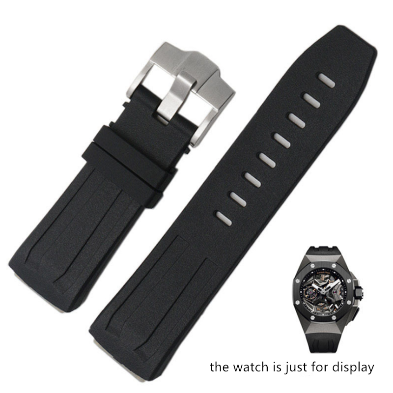 Black 27mm Rubber Watch Strap Band For AP For Oak Concept 26589 26560IO.OO.D002CA.01.A Watchband ReplaceBlack 27mm Rubber Watch Strap Band For AP For Oak Concept 26589 26560IO.OO.D002CA.01.A Watchband Replace
