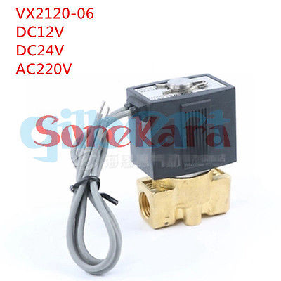 12VDC 24VDC 220VAC 1/8 Electric Solenoid Valve Air Water VX2120-06 2 Way Normally Closed 12vdc 1 4 inch bspp female nylon plastic electric solenoid valve nc water fluid