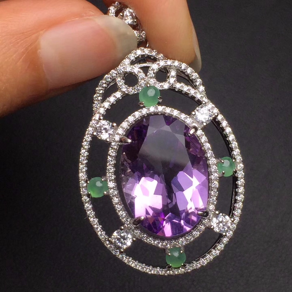 Fine Jewelry Real 925 Steling Silver s925 100% Natural Amethyst Gemstone Female Pendant Necklaces Christmas Gift fine jewelry real 925 steling silver s925 100
