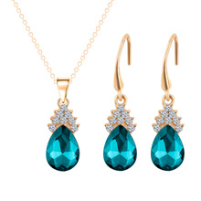 Crystal Waterdrop Pendant Necklace Drop Earrings Set For Women Gold Plated  Rhinestone Flower Choker Bridal Wedding Jewelry Sets