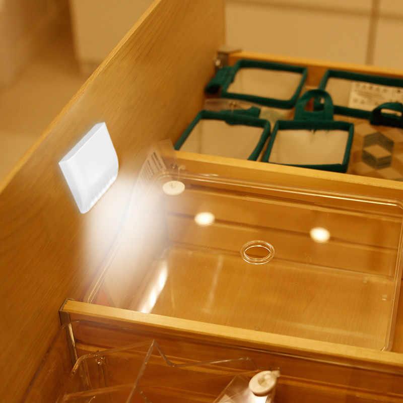 Lámpara de noche A pilas con Sensor de movimiento PIR, luz LED nocturna inteligente con Sensor de movimiento para armario, cajón, dormitorio A