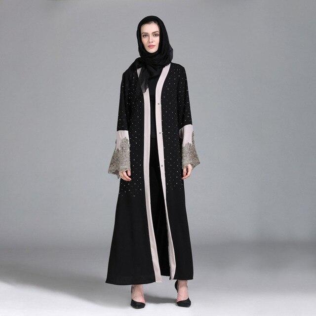 3469e8b488 New design Abaya Dress Diamonds Muslim dresses Women Ramadan Elegent jurken  Islamic Clothing dubai Skirt long sleeve Hot