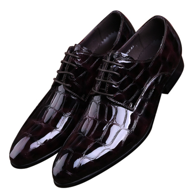 Crocodile Grain Black / Wine Red Business Social Shoes Mens Dress Shoes Patent Leather Groom Wedding Shoes Man Derby Shoes