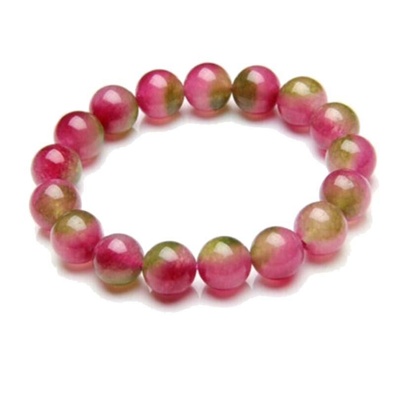 Браслет женский из натурального камня, ювелирное украшение из арбуза, турмалина, бусин, нить кварца, регулируемый размер, красный и зеленый ...