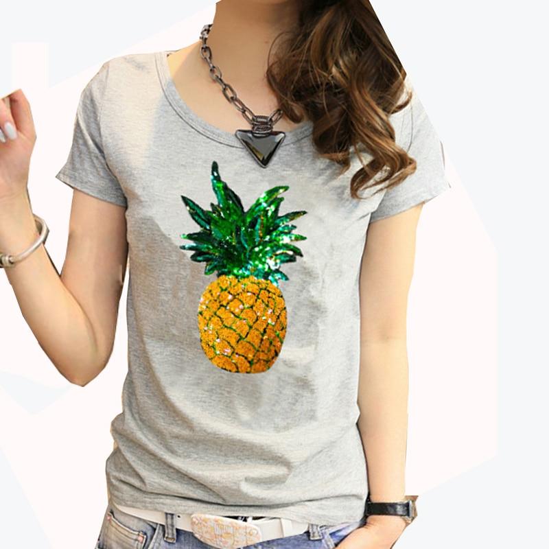 Wanita Baru 2018 Pakaian Musim Panas Cotton Nanas Cetak Manik-manik T-shirt Berlapis T-shirt Tee Tee Untuk Wanita Baju Femme 2